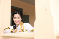 The woman smile in congratulations day . Royalty Free Stock Photo
