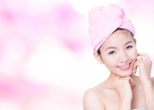 Woman Smile Face after bath - spa Royalty Free Stock Photography