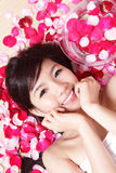 Woman smile Face close up with red rose Stock Photos