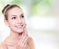 Woman smile face with health teeth close up Stock Photos