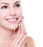 Woman smile face with health teeth close up Royalty Free Stock Photos