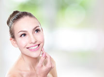 Woman smile face with health teeth close up Royalty Free Stock Photography