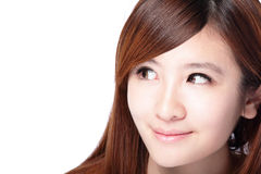 Woman smile face and look to copy space Stock Images