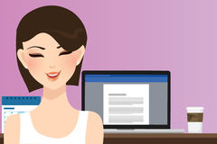 Woman smile in front of computer working in office home as copy writer illustration of beautiful happy girl or student. Vector Royalty Free Stock Image