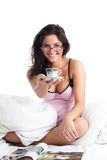 Woman smile and give cup of coffee Royalty Free Stock Photo
