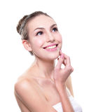 Woman smile with health teeth. Attractive smile woman face with health teeth close up , isolated over white background, caucasian beauty Royalty Free Stock Photography