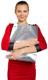 Woman with smile holding shopping bag Royalty Free Stock Photo