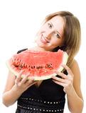 Woman smile holding watermelon Stock Photography