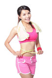 Woman smile measuring waist after sport Royalty Free Stock Photography
