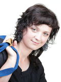 Woman smile nd shoulder bag isolated Stock Photography
