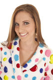 Woman smile polka dot robe head Royalty Free Stock Photo