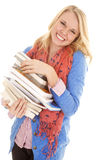 Woman smile stack of books Royalty Free Stock Photos