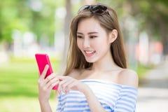 Woman use phone Stock Image