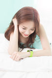 Woman Smile use smart watch Royalty Free Stock Photo