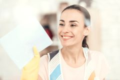 The woman smiles and wipes the window at home. royalty free stock images