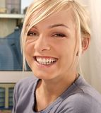 Woman smiling. Blond, young girl, woman smiling Stock Image