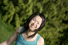 Woman smiling. Japanese woman smiling Royalty Free Stock Images