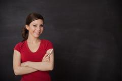 Woman smiling blackboard Stock Photos