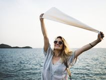 Woman smiling and chill out by the sea stock image