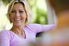 Woman smiling, close-up Stock Images