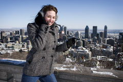 Woman smiling on cold winter day Stock Images