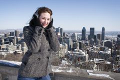 Woman smiling on cold winter day Royalty Free Stock Images