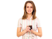 Woman smiling drinking tea Stock Images