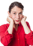 Woman smiling expressing childish happiness and satisfaction Royalty Free Stock Photos
