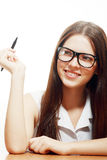 Woman smiling eyeglasses Stock Photos