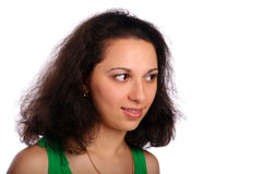 Woman smiling face close-up Stock Images