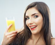 Woman smiling face , juice glass isolated. Stock Images