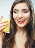 Woman smiling face , juice glass isolated. Female happy model Stock Photo