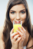 Woman smiling face , juice glass isolated. Royalty Free Stock Images