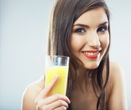 Woman smiling face , juice glass isolated. Female happy model Royalty Free Stock Photo