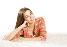 Woman Smiling Face, Young Girl Lean Head by Hand, White Isolated Royalty Free Stock Photography