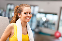 Woman smiling in a fitness club Royalty Free Stock Image
