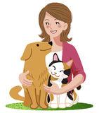 A woman smiling with furry friends Stock Photography