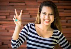 Woman is smiling Stock Photo