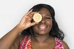 Woman Smiling Happiness Cover Eye Playful Lemon Portrait Stock Photos