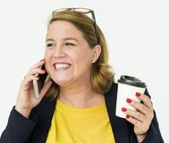 Woman Smiling Happiness Mobile Phone Talking Portrait Concept Royalty Free Stock Photography