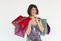 Woman Smiling Happiness Shopaholic Portrait Concept Stock Photos