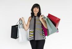 Woman Smiling Happiness Shopaholic Portrait Concept Stock Image
