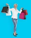 Woman Smiling Happiness Shopaholic Portrait Royalty Free Stock Image