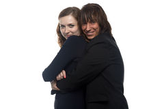 Woman and smiling happy man in black jacket Stock Photo