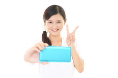 Woman smiling happy Stock Photography
