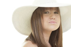 Woman smiling with a hat Stock Photography