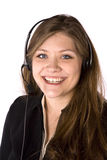 Woman smiling with headset Royalty Free Stock Photo