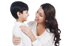 Woman smiling with her son Stock Photos