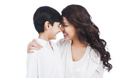 Woman smiling with her son Royalty Free Stock Photo