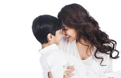 Woman smiling with her son Stock Image